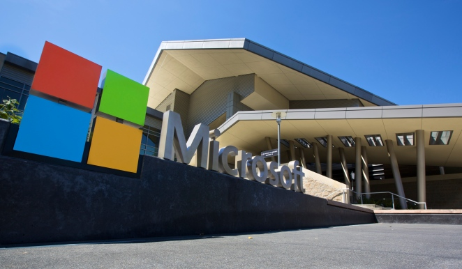 The Visitor's Center at Microsoft Headquarters campus is pictured July 17, 2014 in Redmond, Washington